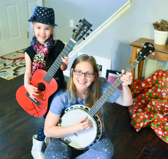 Alani with her guitar and me with the banjo on Christmas!
